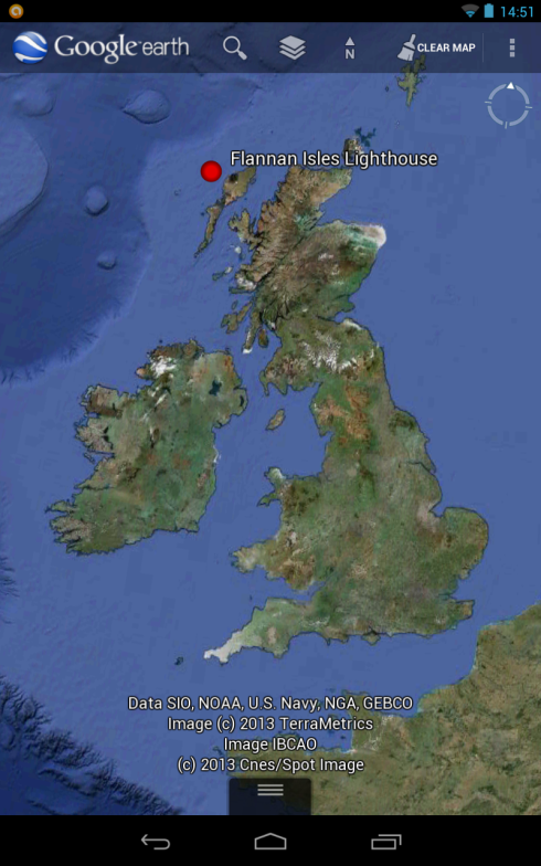 Google Earth map Layer Marking The Location Of Flannan Isle Lighthouse