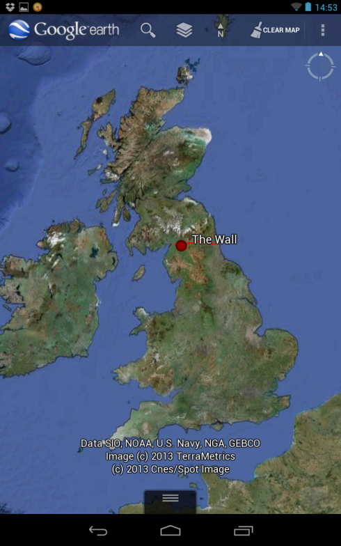 The location of Hadrian's Wall between Scotland and England