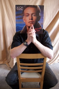 Next came my turn, and an old Jason Donovan album (just remember this was purchased from a charity shop specifically for this and it's not an album I already had lying around the house - honest!). Jason's head is a little big for my body, but it's not too bad.